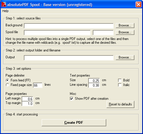 Enables legacy applications to generate PDF files.