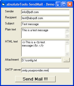 Click to view absoluteTools-SendMail 1.2.3 screenshot