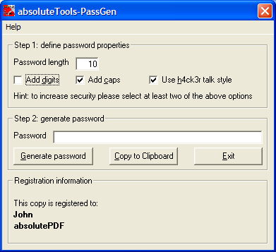 Click to view absoluteTools-PassGen 1.0.0.0 screenshot